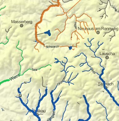 Wasserscheidepunkt in Thüringen