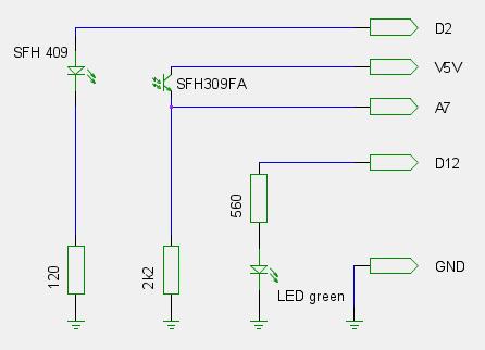 Infrarot Lichtschranke mit Arduino zum Auslesen des Stromzählers