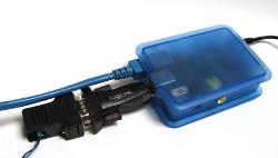 Raspberry Pi mit angesteckten USB nach Seriell und Seriell nach 1-wire Wandlern